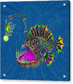 Acrylic Print featuring the drawing Electric Angler Fish by Tammy Wetzel