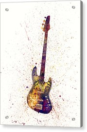 Electric Bass Guitar Abstract Watercolor Acrylic Print
