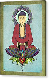 Acrylic Print featuring the drawing Electric Buddha by Tammy Wetzel