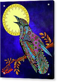 Acrylic Print featuring the drawing Electric Crow by Tammy Wetzel