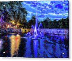 Acrylic Print featuring the photograph Electric Fountain  by Scott Carruthers