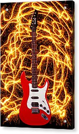 Electric Guitar With Sparks Acrylic Print by Garry Gay