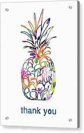 Electric Pineapple Thank You Card- Art By Linda Woods Acrylic Print