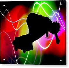 Electric Spectrum Skateboarder Acrylic Print by Elaine Plesser