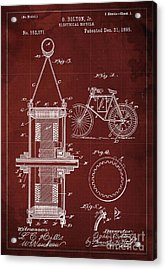 Electrical Bycicle Patent 1895 Acrylic Print