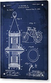 Electrical Bycicle Patent Blueprint Year 1895 Blue Vintage Decoration Acrylic Print by Pablo Franchi