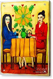 Acrylic Print featuring the painting Elegant Ladies In A Coffee-shop by Don Pedro De Gracia