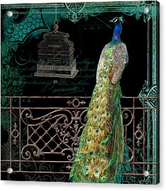 Elegant Peacock Iron Fence W Vintage Scrolls 4 Acrylic Print by Audrey Jeanne Roberts