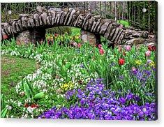 Elegant Sunken Garden Stone Bridge Centennial Park Artistic Acrylic Print by Photo Captures by Jeffery