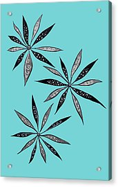 Elegant Thin Flowers With Dots And Swirls Acrylic Print