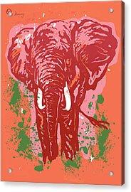Elehpant Pop Art Etching Poster  Acrylic Print by Kim Wang