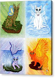 Acrylic Print featuring the painting Elemental Cats by Carrie Hawks