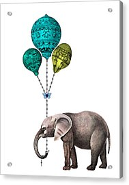 Elephant Holding Blue And Yellow Balloons Acrylic Print