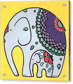 Elephant And Child On Yellow Acrylic Print