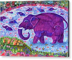 Elephant And Mice Acrylic Print by Jane Tattersfield