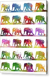 Elephant Animal Locomotion - White Acrylic Print by Aged Pixel