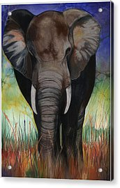 Acrylic Print featuring the mixed media Elephant by Anthony Burks Sr