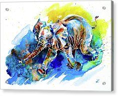 Acrylic Print featuring the painting Elephant Calf Playing With Butterfly by Zaira Dzhaubaeva
