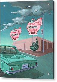 Elephant Car Wash Acrylic Print by Sally Banfill