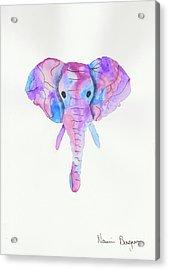 Elephant Head In Watercolour  Acrylic Print