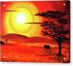 Elephant In A Bright Sunset Acrylic Print