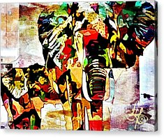 Elephant Love Acrylic Print by Lynda Payton