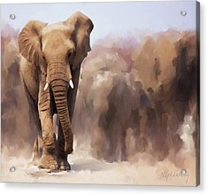 Elephant Painting Acrylic Print by Michael Greenaway