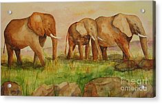 Acrylic Print featuring the painting Elephant Parade by Vicki  Housel
