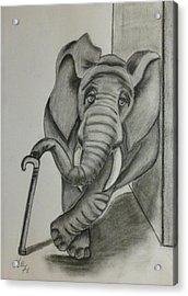 Acrylic Print featuring the drawing Elephant Still Waiting by Kelly Mills