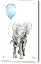 Elephant Watercolor Blue Nursery Art Acrylic Print