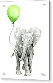 Elephant Watercolor Green Balloon Kids Room Art  Acrylic Print by Olga Shvartsur