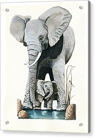Elephants - Protect Our Children Wildlife Painting Acrylic Print by Linda Apple