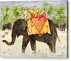 Elephants With Bananas Acrylic Print by EB Watts