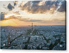 Elevated View Of Paris At Sunset Acrylic Print