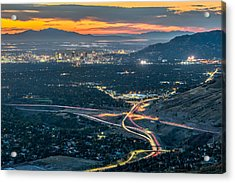 Elevated View Of Salt Lake City After Sunset Acrylic Print