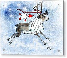 Elf And Reindeer Acrylic Print