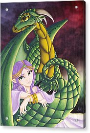 Elf Girl And Dragon Acrylic Print