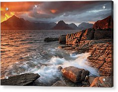 Acrylic Print featuring the photograph Elgol Stormy Sunset by Grant Glendinning