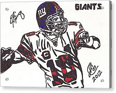 Acrylic Print featuring the drawing Eli Manning by Jeremiah Colley