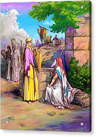 Acrylic Print featuring the painting Eliezer N Rebekah by Sam Shacked