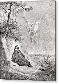 Elijah Nourished By An Angel. After A Acrylic Print by Vintage Design Pics