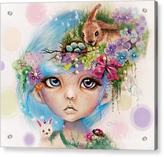 Acrylic Print featuring the drawing Eliza - Easter Elf - Munhkinz Character by Sheena Pike
