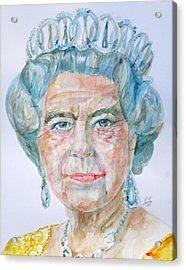 Acrylic Print featuring the painting Elizabeth II - Watercolor Portrait.2 by Fabrizio Cassetta