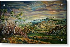 Acrylic Print featuring the painting Elk Mountain Sunrise by Dawn Senior-Trask