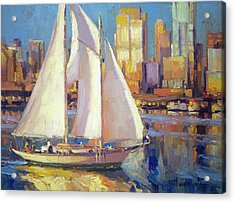 Acrylic Print featuring the painting Elliot Bay by Steve Henderson
