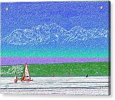 Elliott Bay Sail Acrylic Print by Tim Allen