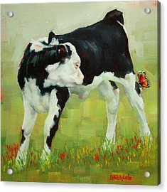 Elly The Calf And Friend Acrylic Print by Margaret Stockdale