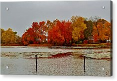 Acrylic Print featuring the photograph Elmer Lake In Autumn by Ed Sweeney