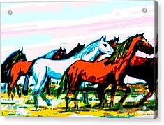 Elongated Art Deco Equestrian Pusuit Acrylic Print
