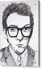 Elvis Costello Acrylic Print by John Keaton